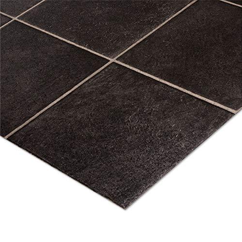 casa pura® CV Bodenbelag Malaga | Anthrazit | edle Fliesenoptik | Oberfläche strukturiert | Meterware (200x200cm)